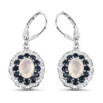 2.80 Carat Genuine Ethiopian Opal, Blue Sapphire and White Topaz .925 Sterling Silver Earrings