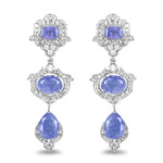 9.57 Carat Genuine Tanzanite and White Topaz .925 Sterling Silver Earrings