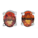 1.00 Carat Genuine Orange Sapphire Sterling Silver Earrings