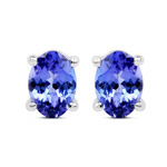 2.00 Carat Genuine Tanzanite 14K White Gold Earrings
