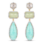18K Yellow Gold Plated 27.50 Carat Genuine Multi Stone .925 Sterling Silver Earrings