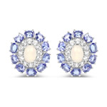 5.32 Carat Genuine Ethiopian Opal, Tanzanite and White Topaz .925 Sterling Silver Earrings