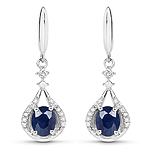 0.86 Carat Genuine Blue Sapphire and White Diamond 14K White Gold Earrings