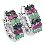0.80 Carat Emerald Earrings with 2.20 ct. t.w. Multi-Gems in Sterling Silver