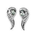 0.40 Carat Genuine Green Sapphire and White Topaz Earrings in Sterling Silver