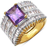 14K Yellow Gold Plated 5.15 Carat  Amethyst and White Cubic Zircon Brass Ring