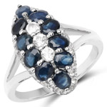 2.87 Carat Genuine Blue Sapphire and White Topaz .925 Sterling Silver Ring