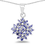 1.50 Carat Genuine Tanzanite .925 Sterling Silver Pendant
