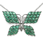 3.50 Carat Genuine Emerald .925 Sterling Silver Pendant