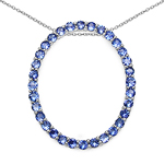2.56 Carat Genuine Tanzanite .925 Sterling Silver Pendant