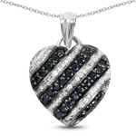 1.55 Carat Genuine Blue Sapphire and White Topaz .925 Sterling Silver Pendant