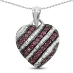 1.56 Carat Genuine Ruby and White Topaz .925 Sterling Silver Pendant
