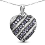 1.30 Carat Genuine Tanzanite and White Topaz .925 Sterling Silver Pendant