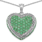 3.89 Carat Genuine Emerald .925 Sterling Silver Pendant