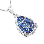 1.96 Carat Genuine Tanzanite & White Topaz .925 Sterling Silver Pendant