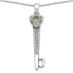 1.82 Carat Genuine Green Amethyst & White Diamond .925 Sterling Silver Pendant