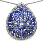 4.16 Carat Genuine Tanzanite .925 Sterling Silver Pendant