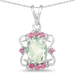 2.83 Carat Genuine Green Amethyst and Ruby .925 Sterling Silver Pendant