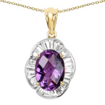 14K Yellow Gold Plated 6.43 Carat Genuine Amethyst and White Topaz .925 Sterling Silver Pendant