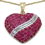 14K Yellow Gold Plated 4.67 Carat Genuine Ruby & White Topaz .925 Sterling Silver Pendant