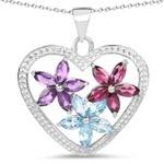 2.35 Carat Genuine Amethyst, Swiss Blue Topaz and Rhodolite .925 Sterling Silver Pendant