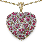 14K Yellow Gold Plated 1.62 Carat Genuine Ruby .925 Sterling Silver Pendant