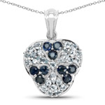 2.73 Carat Genuine Blue Sapphire and Aquamarine .925 Sterling Silver Pendant