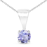 0.23 Carat Genuine Tanzanite Sterling Silver Pendant