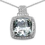 6.30 Carat Genuine Green Amethyst .925 Sterling Silver Pendant