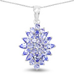 3.82 Carat Genuine Tanzanite .925 Sterling Silver Pendant