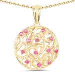 14K Yellow Gold Plated 0.47 Carat Genuine Ruby .925 Sterling Silver Pendant