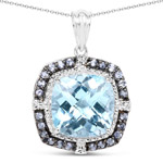 13.51 Carat Genuine Blue Topaz and Tanzanite .925 Sterling Silver Pendant