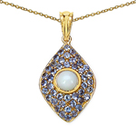 14K Yellow Gold Plated 1.82 Carat Genuine Ethiopian Opal & Tanzanite .925 Sterling Silver Pendant