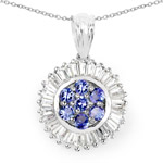 2.44 Carat Genuine Tanzanite and White Topaz .925 Sterling Silver Pendant