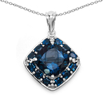 11.41 Carat Genuine London Blue Topaz .925 Sterling Silver Pendant