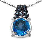 4.94 Carat Genuine Swiss Blue Topaz, Blue Diamond & White Diamond .925 Sterling Silver Pendant