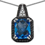 4.35 Carat Genuine Swiss Blue Topaz, Black Diamond & White Diamond .925 Sterling Silver Pendant