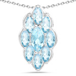 4.77 Carat Genuine Swiss Blue Topaz .925 Sterling Silver Pendant
