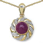 14K Yellow Gold Plated 5.32 Carat Genuine Pink Sapphire & White Diamond .925 Sterling Silver Pendant
