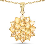 14K Yellow Gold Plated 7.23 Carat Genuine Citrine .925 Sterling Silver Pendant