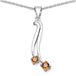 0.32 Carat Genuine Orange Sapphire .925 Sterling Silver Pendant