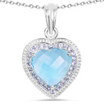 7.36 Carat Genuine Blue Topaz and Tanzanite .925 Sterling Silver Pendant