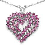 2.60 Carat Genuine Ruby Sterling Silver Pendant