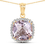 14K Yellow Gold Plated 13.68 Carat Genuine Pink Amethyst and White Topaz .925 Sterling Silver Pendant
