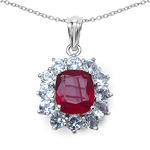 12.44 Carat Genuine Glass Filled Ruby & White Topaz .925 Sterling Silver Pendant