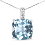 4.47 Carat Genuine Blue Topaz and White Topaz .925 Sterling Silver Pendant