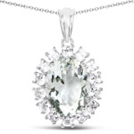 10.56 Carat Genuine Green Amethyst and White Topaz .925 Sterling Silver Pendant