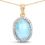 14K Yellow Gold Plated 13.55 Carat Genuine Larimar and White Topaz .925 Sterling Silver Pendant
