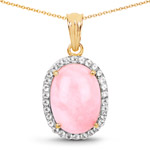 14K Yellow Gold Plated 11.75 Carat Genuine Opal Pink and White Topaz .925 Sterling Silver Pendant