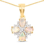 14K Yellow Gold Plated 1.18 Carat Genuine Ethiopian Opal and White Topaz .925 Sterling Silver Pendant